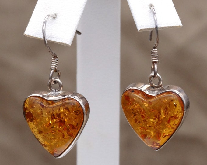 Baltic Amber Hearts and Sterling Silver Dangle Earrings