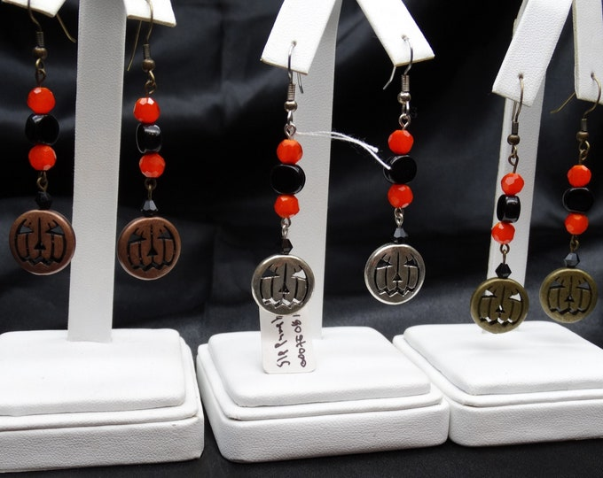Pumpkin Dangle Earrings - Your Choice of Copper, Silver Plated or Antique Gold Plated