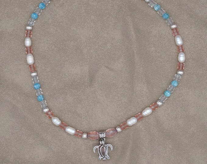 Fresh Water Pearl and Turtle Cage Necklace