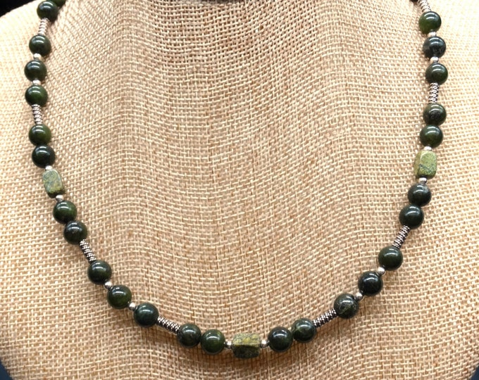 Jade, Serpentine, and Sterling Silver Necklace