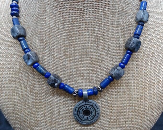 Greek Key Lapis Lazuli and Labradorite Necklace