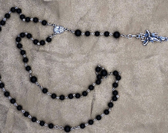 Black Onyx and Sterling Silver Rosary