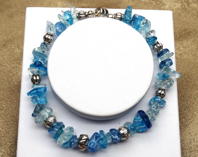 Blue Aura Sea Glass and Tribal Silver Bracklet