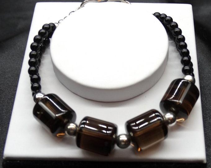 Smoky Quartz and Onyx Bracelet