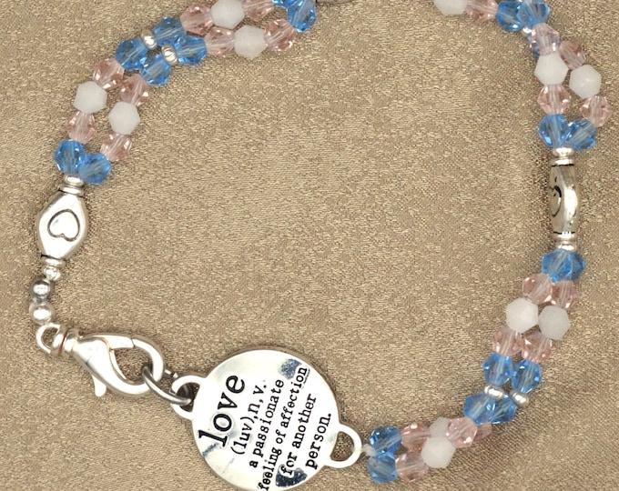 Trans Pride Swarovski Crystal Double Strand Bracelet