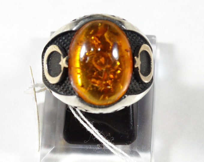 Baltic Amber and Sterling Silver Mens Ring