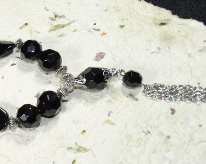 Bold In Black Tassle Chain Y Necklace