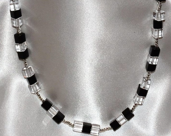 Business Geometry Black and Clear Necklace