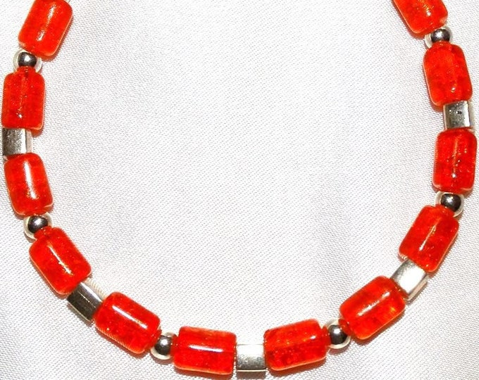 Bright Orange Czech Crackle Glass and Sterling Silver Bracelet