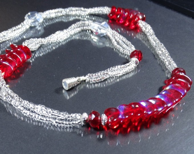 Silver and Red Waves Triple Strand Necklace