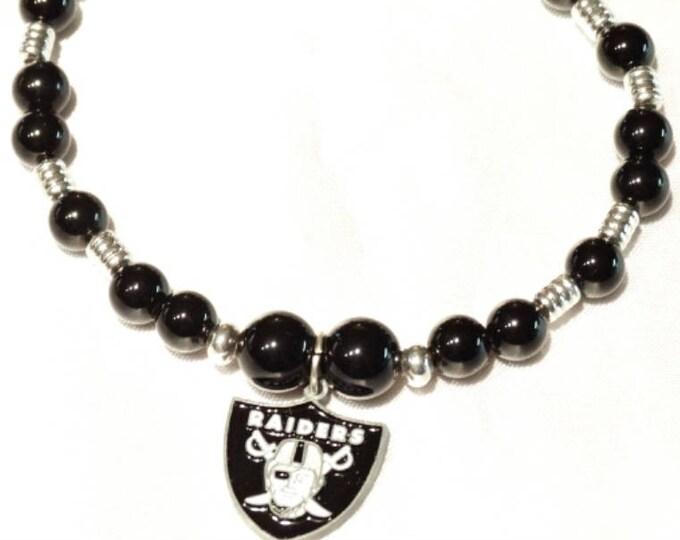 Oakland Raiders Onyx Bracelet