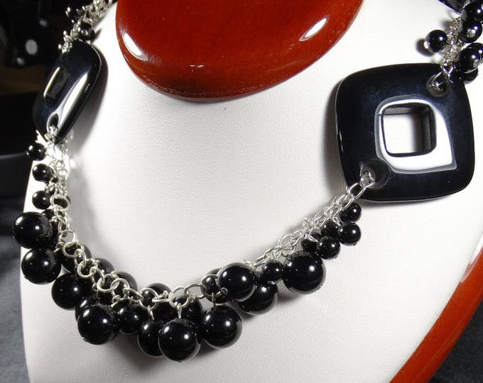 Natural Black Onyx Linked Necklace