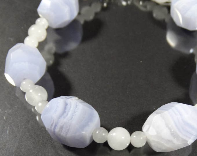 Blue Lace Agate and White Agate Bracelet