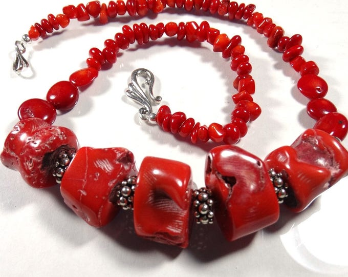 Natural Red Sea Coral and Sterling Silver Necklace