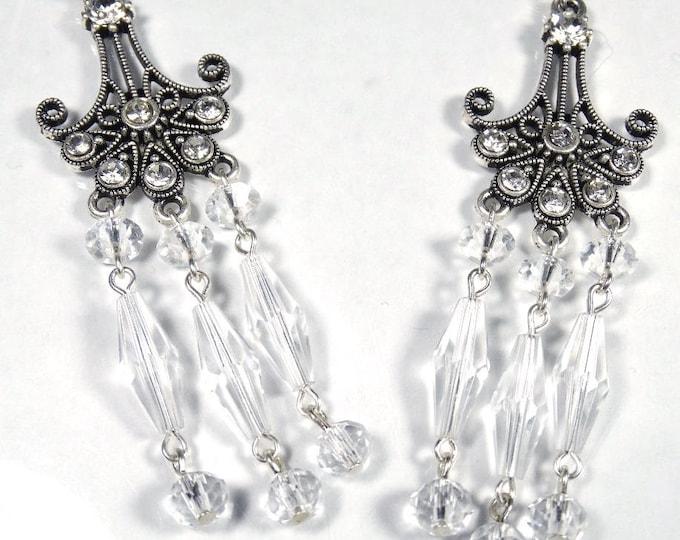 Clear Swarovski Crystal Chandelier Earrings