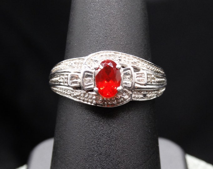 Natural Fire Opal and Baguette Diamond Accent Ring