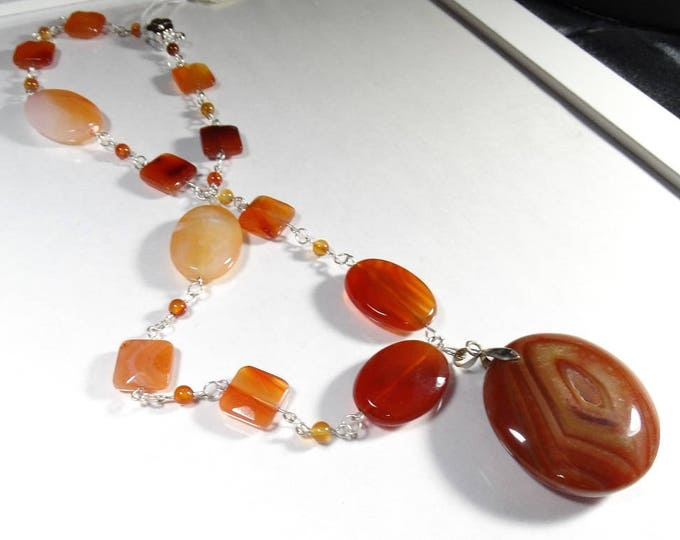 Red Carnelian and Agate Necklace