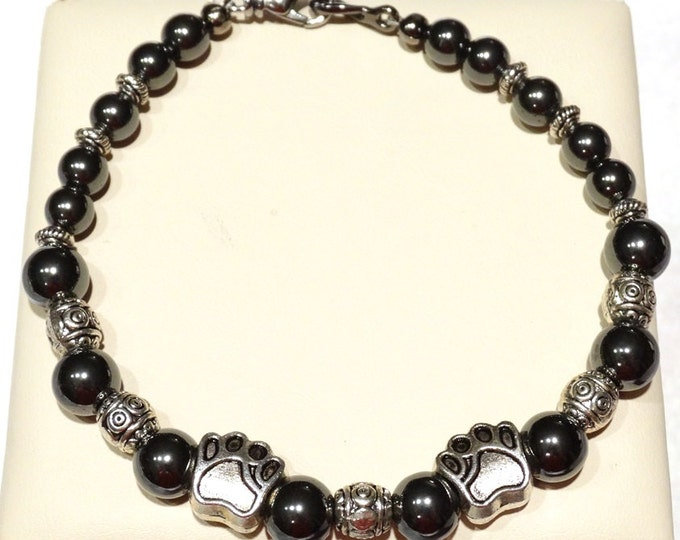 Hematite Paw Prints Bracelet