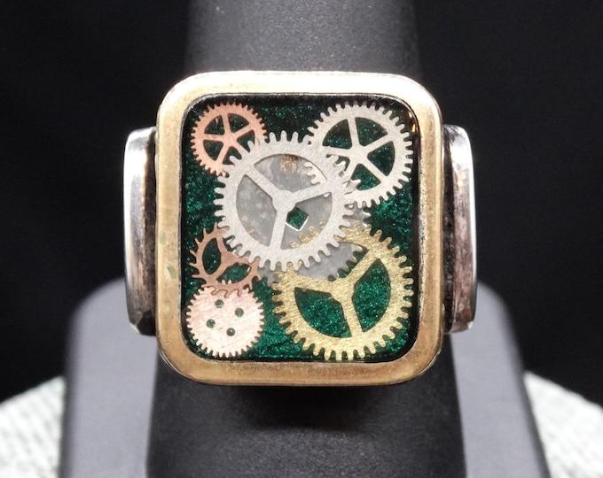 Green Clockwork Men's Ring