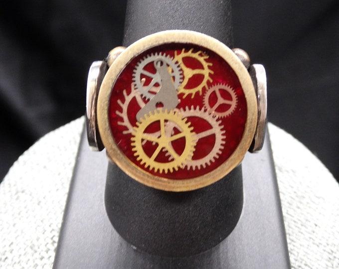 Red Sterling Silver Clockwork Ring