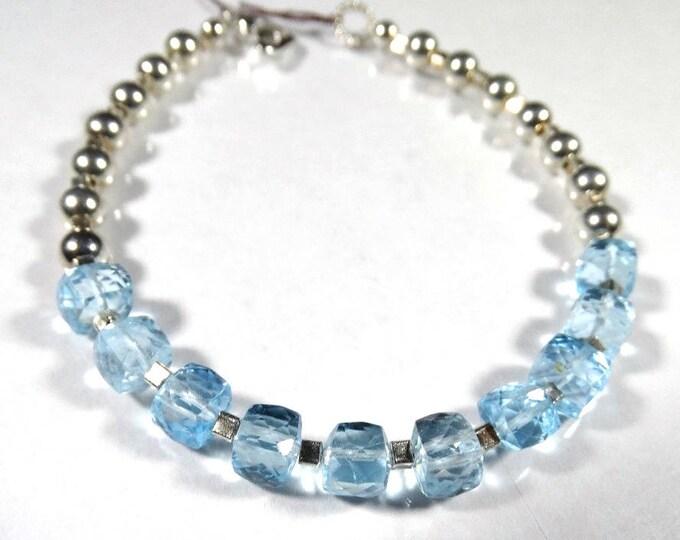 OOAK Swiss Blue Topaz and Sterling Silver Bracelet