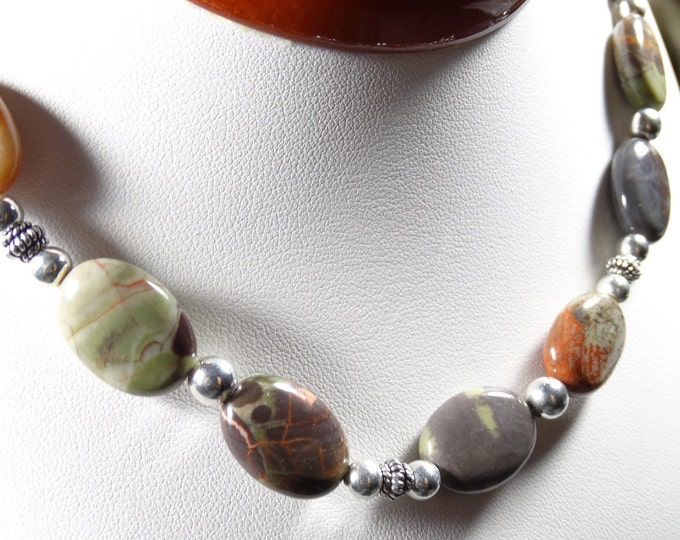 Sierra Agate and Sterling Silver Necklace