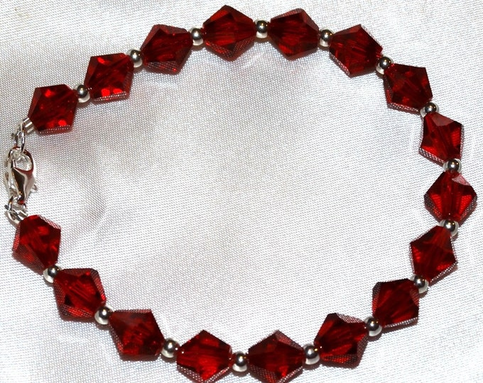 Brilliant Red Crystal and Sterling Silver Bracelet