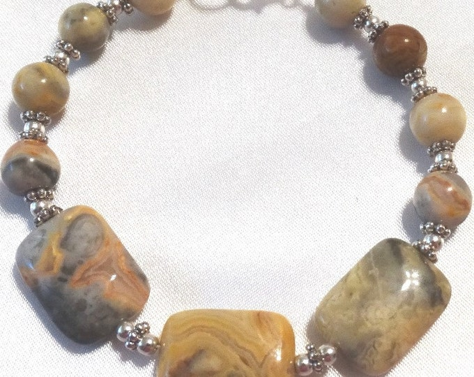 Crazy Agate and Sterling Silver Bracelet