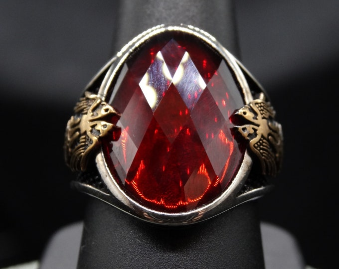 Lab Ruby and Sterling Silver Double Eagle Men's Ring