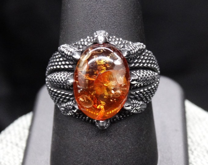 Baltic Amber and Sterling Silver Claw Ring