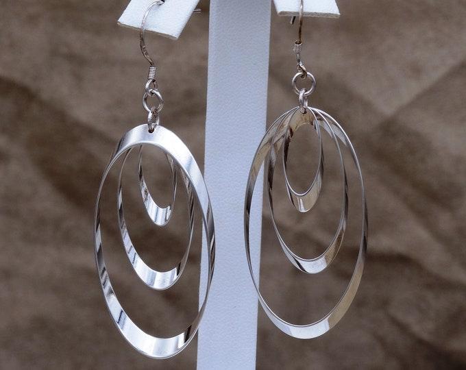 Sterling Silver Hoops Within Hoops Dangle Earrings