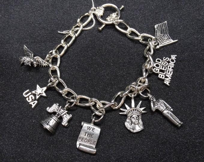 USA Patriotic Pride Charm Bracelet