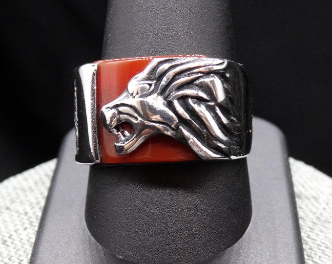 Sterling Silver Lion and Carnelian Men's Ring