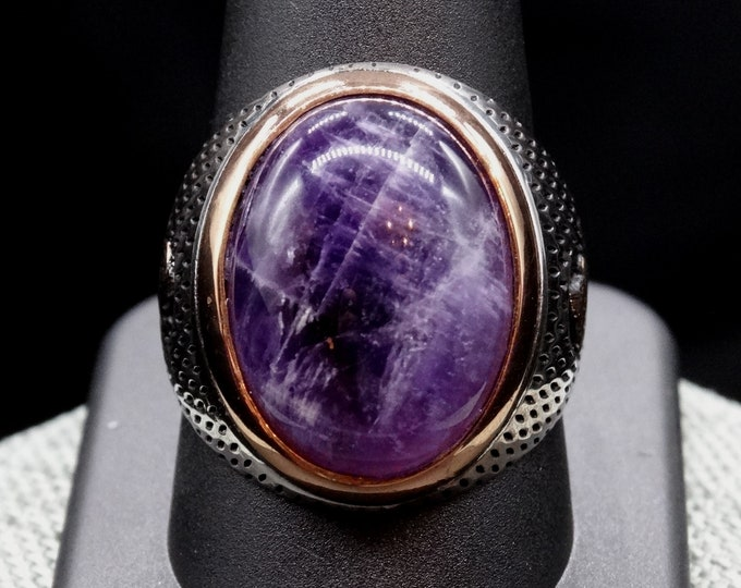 Natural Amethyst Cabochon and Sterling Silver Men's Ring
