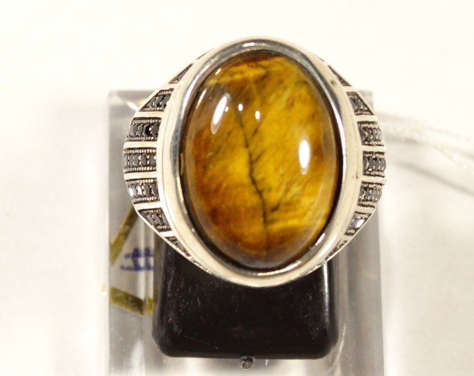 Tigers Eye, Marcasite and Sterling Silver Ring