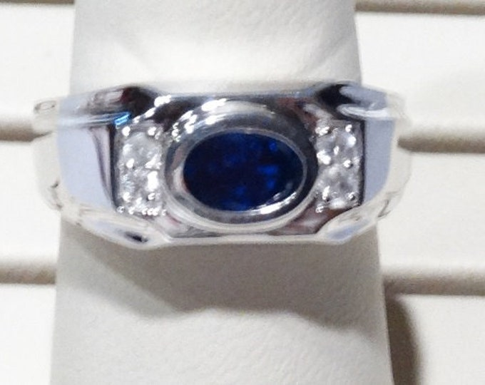 Blue Lab Sapphire Sterling Silver Ring