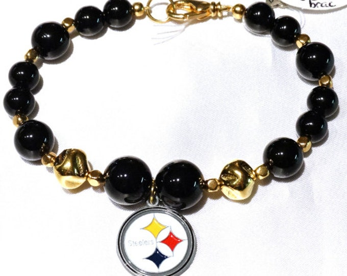 Pittsburgh Steelers Bracelet - Onyx and Gold
