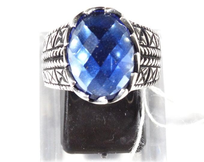 Rose Cut Lab Sapphire and Sterling Silver Ring