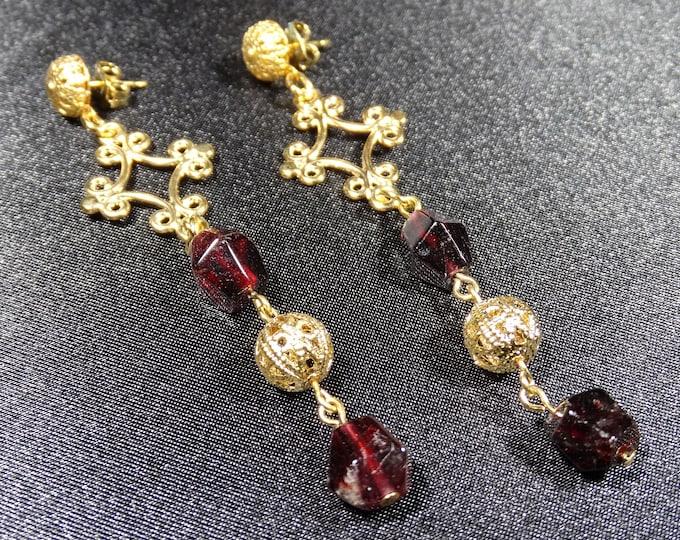 Baroque Garnet and Gold Filigree Earrings