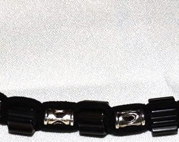 Cane Glass and Pewter Tubes Knotted Suede Bracelet