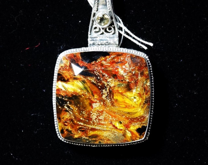 Namibian Pietersite with Sterling Silver Scroll Work Pendant
