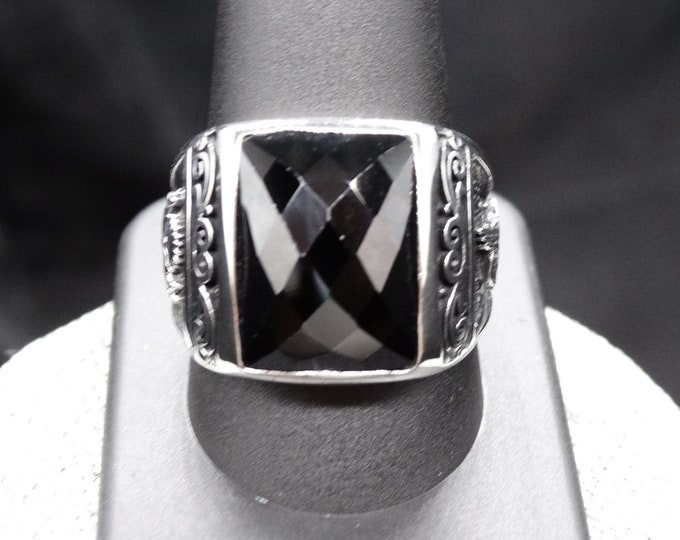 Faceted Black Onyx and Sterling Silver Men's Ring