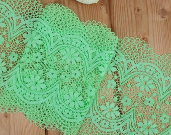 Limegreen 16 cm wide Crochet Look Stretch lace by the meter