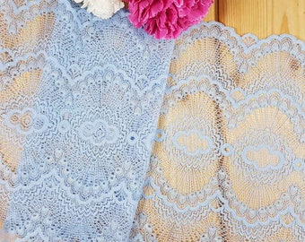 Light blue Stretch lace by the meter