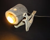Wooden lamp, quirky, with moose jaw -wood lamp - table lamp - tree trunk lamp
