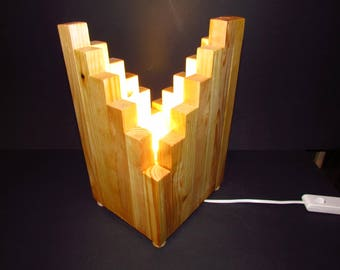 Table lamp made from spruce wood