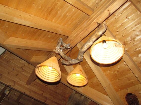 Plafoniere In Legno Rustico : Lampada in legno rustico plafoniera kelo etsy