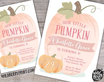 Little Pumpkin Birthday Party Invitation with Free Shipping or Personalized Printable   Fall Little Girl Invite