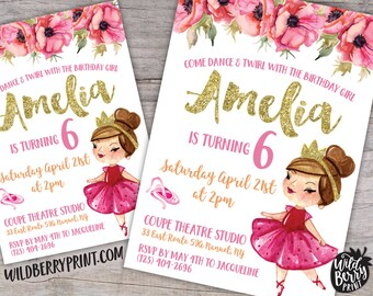 Prima Ballerina Ballet Birthday Invitation with Free Shipping or Personalized Printable | Dance Twirl with Birthday Girl | Gold Pink Glitter