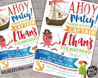 Pirate Birthday Party Invitation with Free Shipping or Personalized Printable | Pirate Party | Pirate Ship | Treasure Map